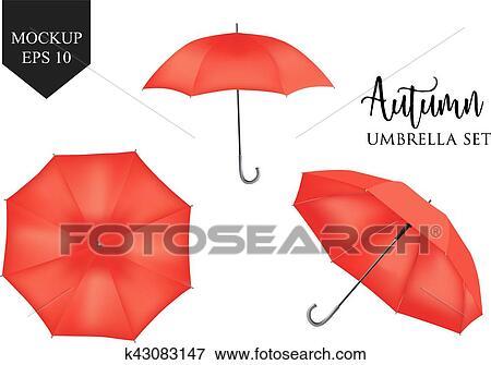 Clip Art - vector, realista, parasol, lluvia, paraguas, sombrilla ...