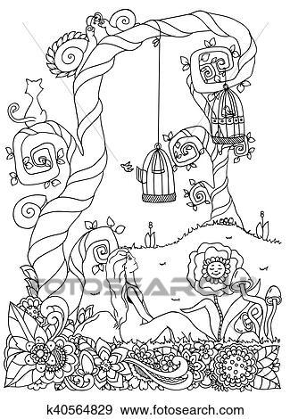 Clip Art Vektor Abbildung Zentangl Mädchen Sitzen Bei A