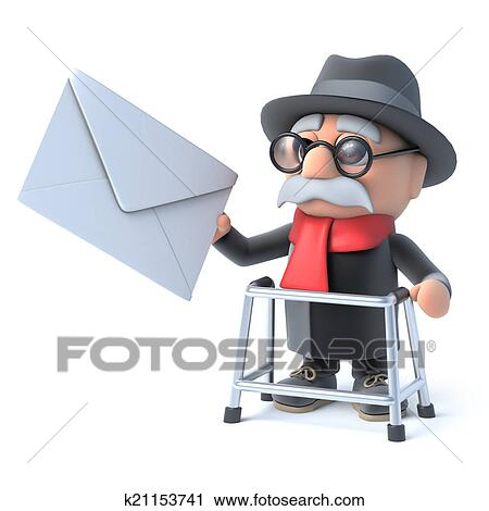 3d おじいさん で 歩くフレーム 得る メール クリップアート