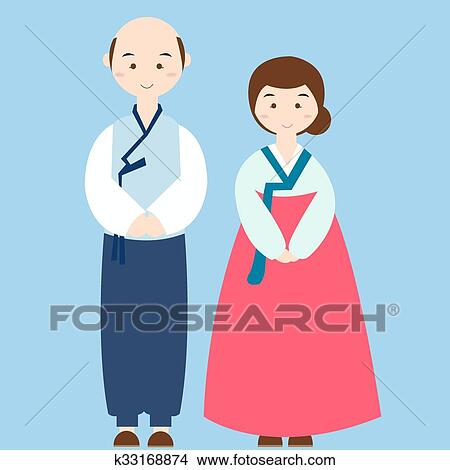 Couple Wearing Korean Traditional Clothes Costume Asian Wedding Dress Clipart