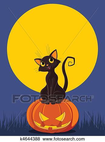 Zucca Halloween Gatto.Halloween Gatto Su Zucca Clip Art