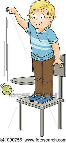 Kid Boy Drop Ball Chair Clip Art | k41090756 | Fotosearch