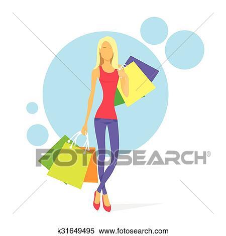 68b481642893 Shopping, donna, con, borse, isolato Clipart | k31649495 | Fotosearch