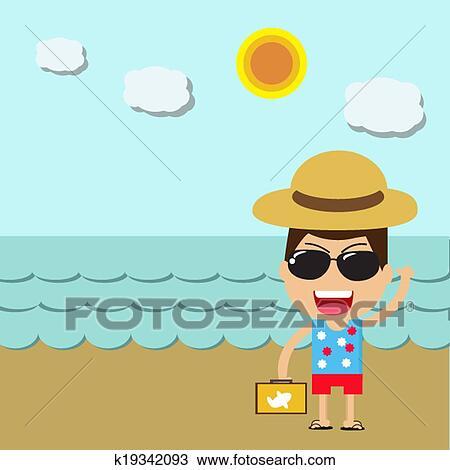 Summer Heureux Homme Plage Vacances Dessin