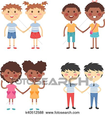 Clip Art Of Vector Cute Cartoon Twins Brothers And Sisters K40512588