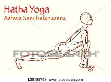 clipart of vector hatha yoga ashwa sanchalanasana