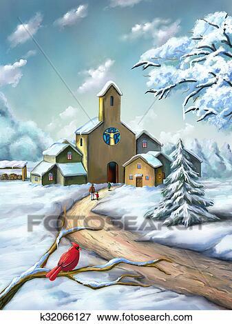 クリスマス 風景 イラスト K32066127 Fotosearch