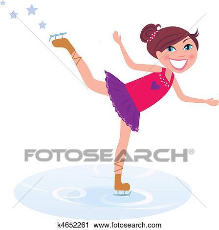 女の子 訓練 フィギュアスケート 上に 氷 クリップアート切り張り