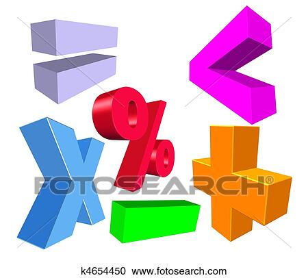 Stock Illustrations Of 3d Math Symbols K4654450 Search Clipart