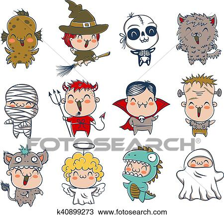 Clipart Bambini Con Costumi Per Halloween K40899273 Cerca