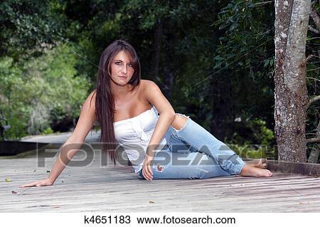 Teen brunette outdoors