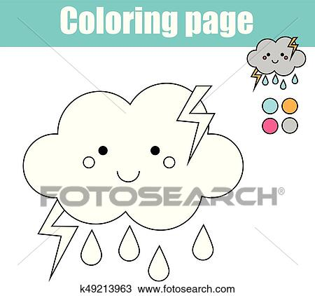 Coloring page with cute cloud character. Educational game, printable ...