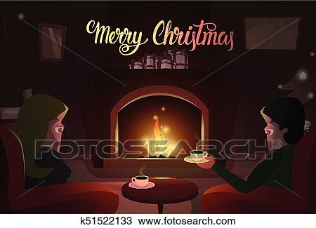 clipart couple sitting near fireplace merry christmas and happy new year winter holiday concept