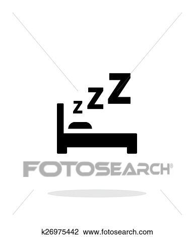 Clipart Dormir Dans Lit Simple Icône Blanc Arrière Plan