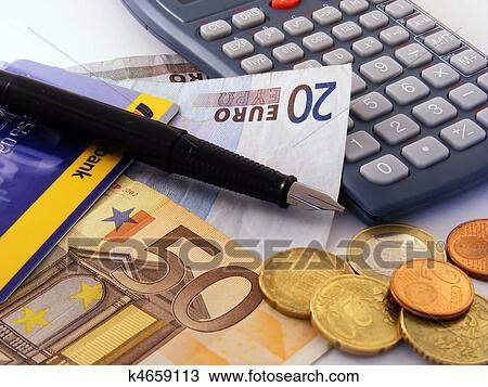 Stock Photo Of Euro Money Calculator Credit Card K4659113 Search