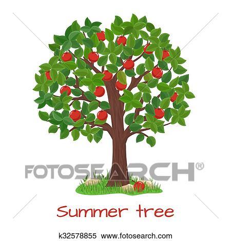 Green Apple Tree Summer Tree Vector Clipart K32578855 Fotosearch