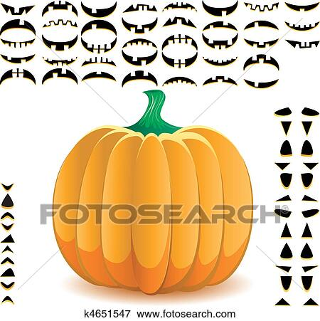 clip art of halloween pumpkin with big set of mouths eyes and noses