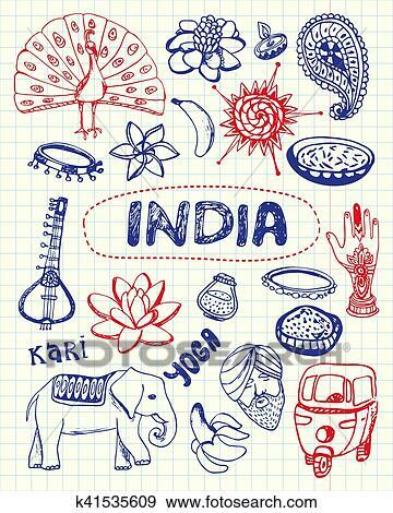 Clip Art Indische Symbole Stift Gezeichnet Doodles Vektor