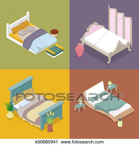 Clipart Isometric Double King Size Bed Set Bedroom Furniture Design Vector Flat