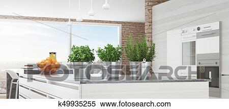 Moderno, bianco, cucina, con, piante aromatiche, 3d, render ...