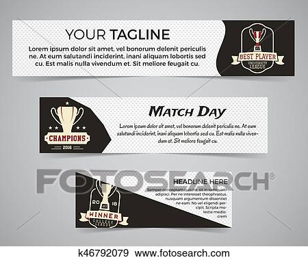 Set Of American Football Banner Template With Soccer Logo Label And Badge Clip Art K46792079 Fotosearch