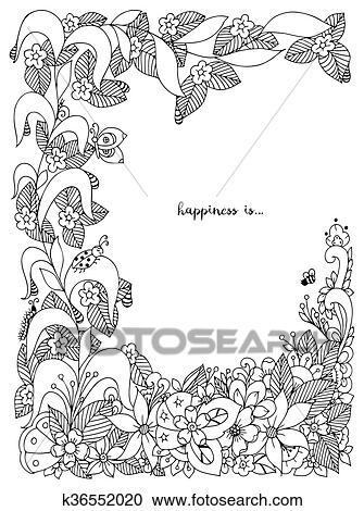 Clipart - vector, ilustración, de, floral, marco, zentangle ...