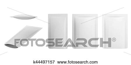 Stock Illustration Of White Blank Foil Food Doy Pack Stand Up Pouch