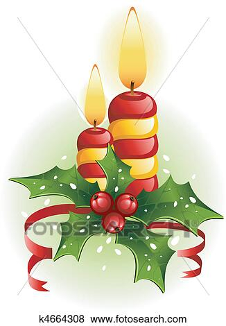 Clip Art Candele Natale E Agrifoglio K4664308 Cerca Clipart