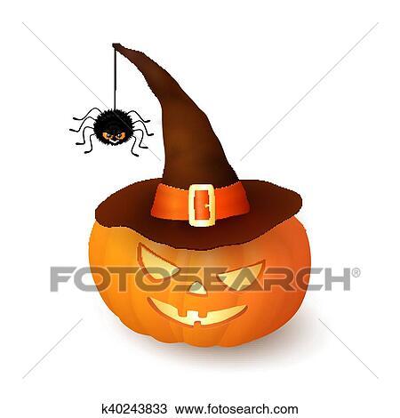 Cartone animato halloween d zucca con cappello strega e