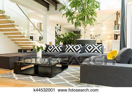 stock photography of cozy living room with sofa set k44532001 rh fotosearch ca