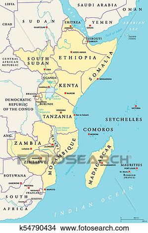 East Africa region, political map Clipart | k54790434 ...