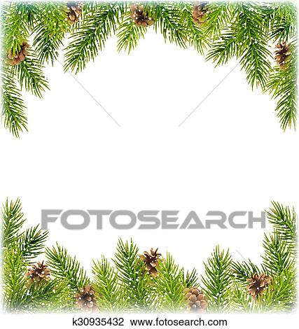 Clipart of Green Christmas Tree Pine Branches with Pinecones Like ...