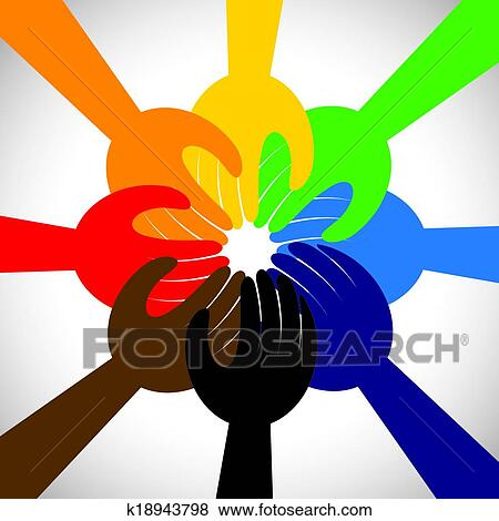 Clip Art Of Group Of Hands Taking Pledge Promise Or Vow Concept