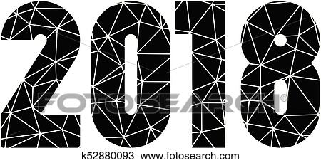 clipart happy new year 2018 modern design element low poly mosaic of triangles