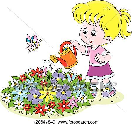 Clipart girl arroser fleurs k20647849 recherchez des - Fleuriste dessin ...