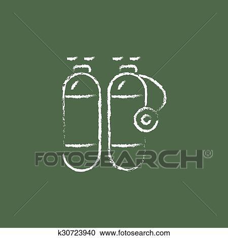 Clipart Of Oxygen Tank Icon Drawn In Chalk K30723940 Search Clip