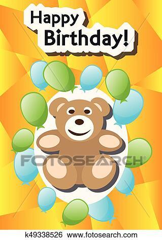 Clip Art Of Playful Illustration Birthday Card Teddy Balloons