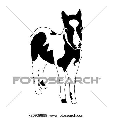 Clip Art Schwarz Weiß Silhouette Von A Klein Pferd Pony