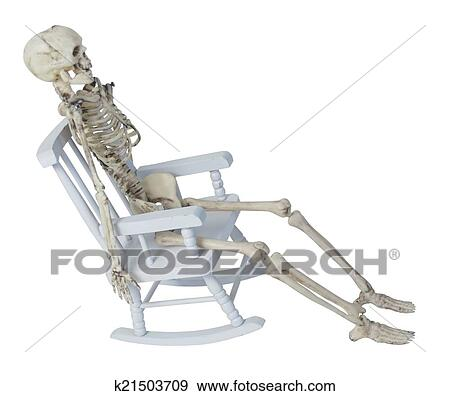stock photograph of skeleton in rocking chair k21503709 search