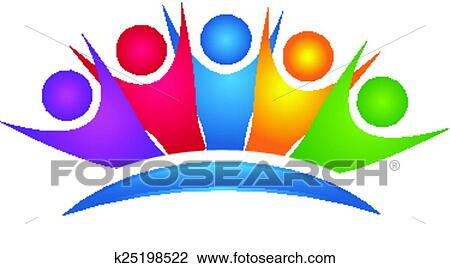 clipart of teamwork colorful happy group logo k25198522 search rh fotosearch com group clipart black and white group clipart images