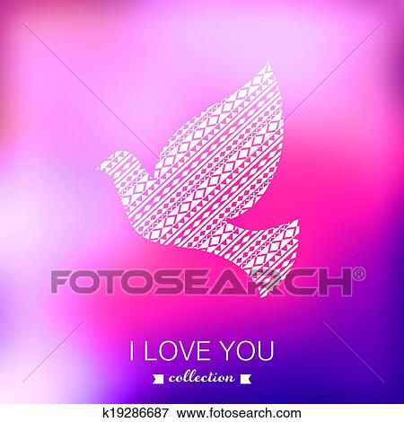 Clip Art Of Vector Dove Valentine S Day Background Pigeon Blurred
