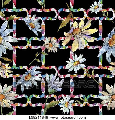 Wildflower Daisy Seamless Background Pattern Fabric Wallpaper