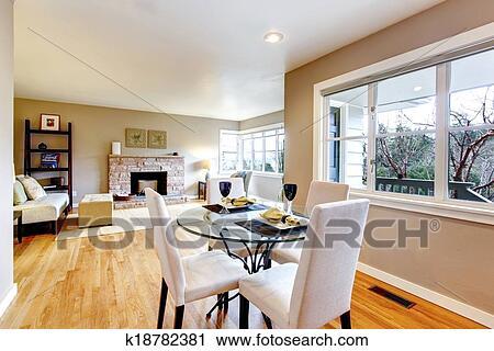 Aperto, disegno, per, vivente, e, sala da pranzo, interior., vista ...