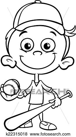 Black And White Cartoon Illustration Of Funny Boy Baseball Player With Bat Ball For Coloring Book