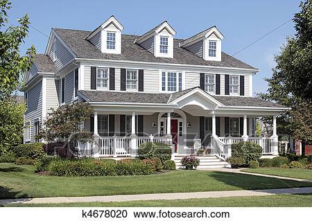 Archivio fotografico casa suburbana con portico anteriore k4678020 cerca archivi - Casa con portico ...