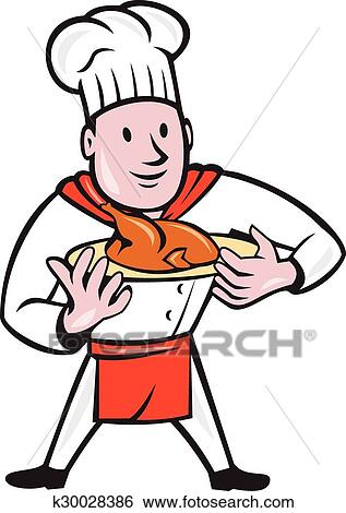 Clipart chef cuistot cuisinier poulet r ti plat - Chef cuisinier dessin ...