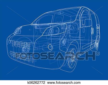 Concept car blueprint Drawing