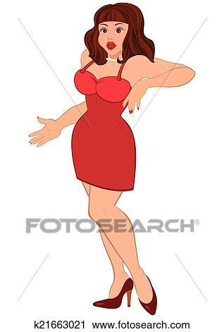 Dessin Anime Sexy clipart - dessin animé, sexy, brunet, femme, dans, mini, robe rouge