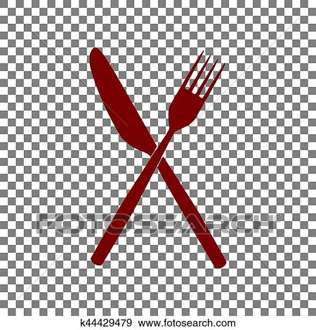 Fork And Knife Sign Maroon Icon On Transparent Background