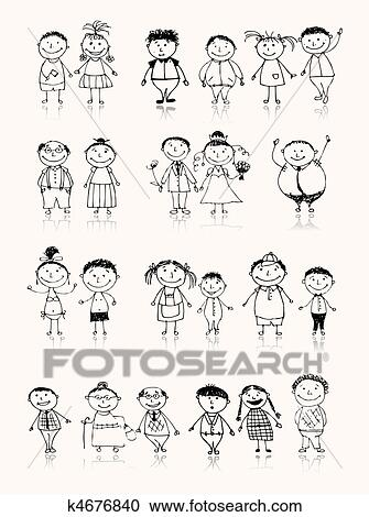 Clipart Of Happy Big Family Smiling Together Drawing Sketch